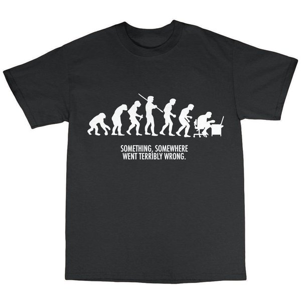 Evolution T Shirt 100% Cotton Funny Present Gift Geek Nerd Shirt Cotton Hight Quality Man T Shirt Black Style Top Tee