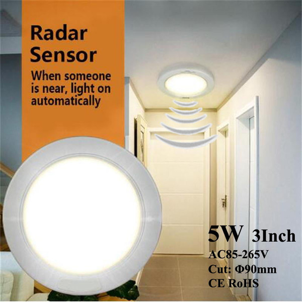 Foco empotrable LED Reflector empotrado Accesorios de iluminación Iluminación de ahorro de energía Humano Sensores de radar Lámpara de inducción para escaleras de garaje Carbarn