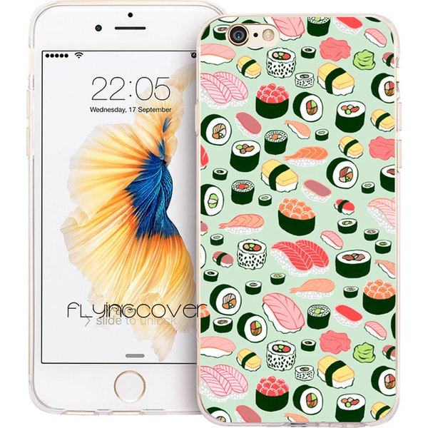 Japanese Sushi Pattern Clear Soft TPU Silicone Phone Cover for iPhone X 7 8 Plus 5S 5 SE 6 6S Plus 5C 4S 4 iPod Touch 6 5 Cases.