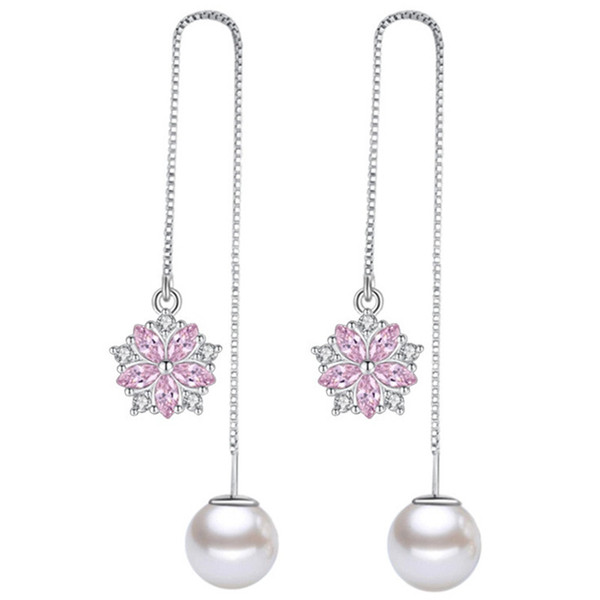 Simulated Pearl Pink CZ Diamond Dangle Earring For Women Vintage Fashion Jewelry Long Drop Earrings White Gold Plated WHE273
