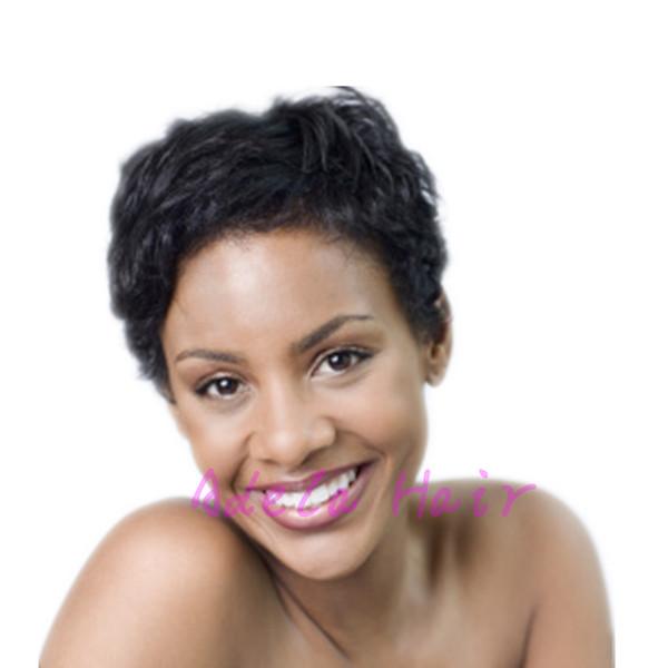 Pelucas humanas del pelo brasileño del 100% Corto Pixie Cut Glueless Ningunas pelucas del cordón Rihanna cortan pelucas llenas muy cortas de la peluca del afroamericano para las mujeres