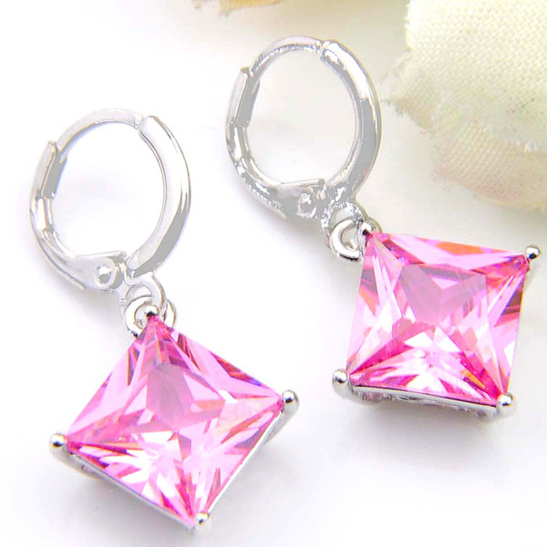 10Prs Luckyshine Classic Dazzling Fire Square Pink Topaz Cubic Zirconia Gemstone Silver Dangle Earrings for Holiday Wedding Party