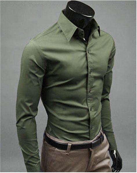 New Fashion Brand Military green Groom Shirts Long Sleeve Shirt Men Slim Design Formal Casual Male Dress Shirt Size M-5XL (C8009)