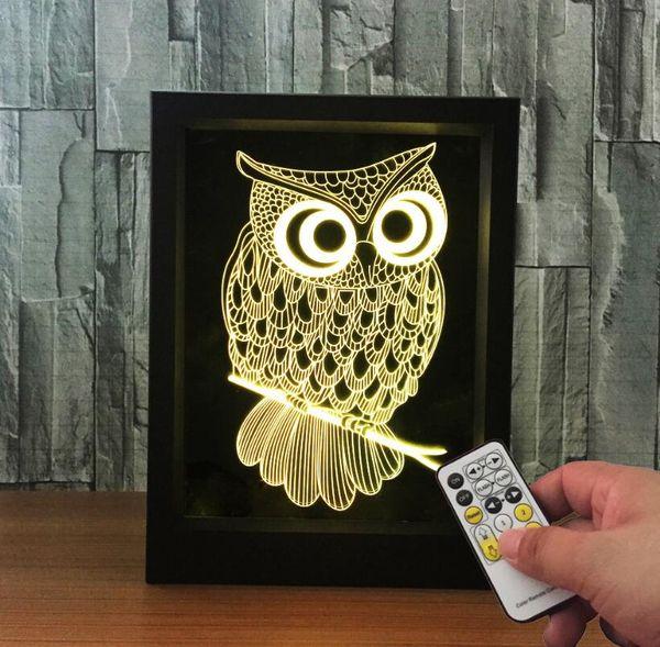 Creative Room Decoration Birthday Gift 3D Owl Shaped USB Photo Frame Night Light LED 7 Colors Kids Bedside Acrylic Table Lamp Light