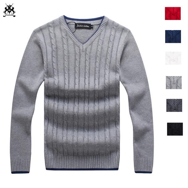 Alta calidad 2018 Invierno 100% algodón para hombre con cuello en v manga larga suéteres suéteres casuales para hombre suéteres de moda tapas delgadas