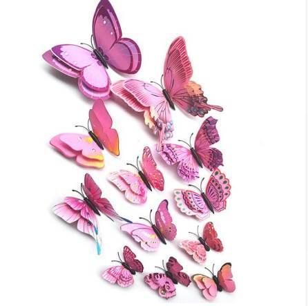 12 Stücke 3D Doppelschicht Schmetterling Wandaufkleber an der Wand für Wohnkultur DIY Schmetterlinge Kühlschrankmagnet Aufkleber Raumdekoration