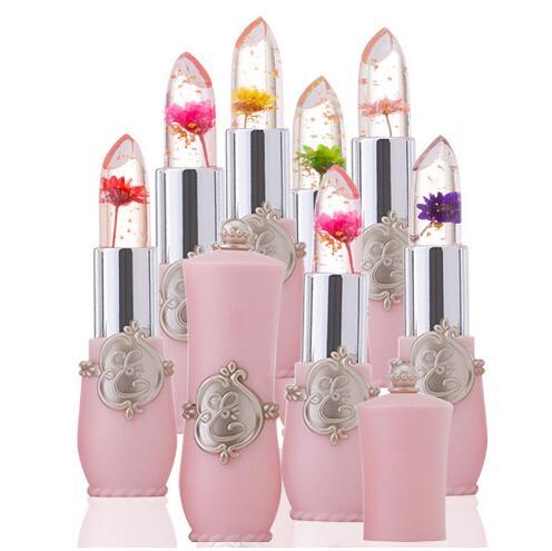 Nouveau Lip Stick Jelly Flower Transparent Couleur Changeante Rouge à Lèvres Longue Durée Avec 6 Couleurs Fleur Vert Rouge À Lèvres