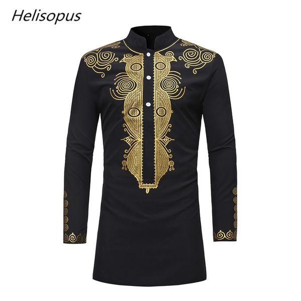 Helisopus Hommes Africain Conception Dashiki Chemises Habillées Vintage À Manches Longues Imprimé Hommes Longue Chemise Traditionnelle 2018 Homme Vêtements
