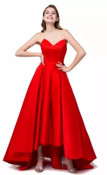 2018 In Stock Sexy Red Sweetheart A-Line Formal Evening Dresses With Satin Lace Up Prom Party Celebrity Gowns BE29