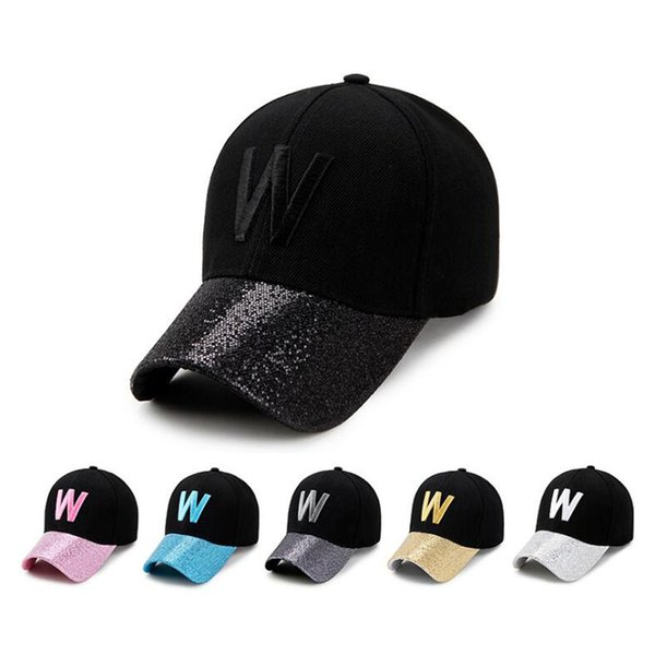 6 colros W Shining Letters Baseball Cap Man Cap Women Fitted Hat Sun Hat Wholesale Luxury Designer Autumn / Winter
