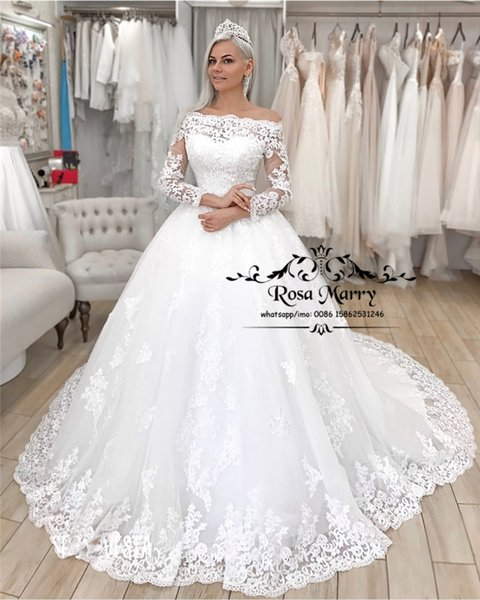Victoria Long Sleeves Muslim Wedding Dresses with Detachable Jacket 2019 A Line Vintage Lace Plus Size Arabic African Dubai Bridal Gowns