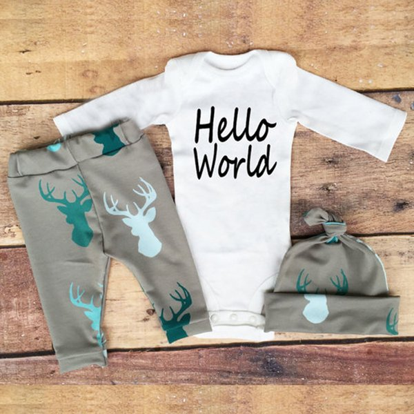 Boy Clothing Infant Baby Clothes Set Autumn For Boy 3 Piece Kids Outfit Rompers Pants Hat For Newbor