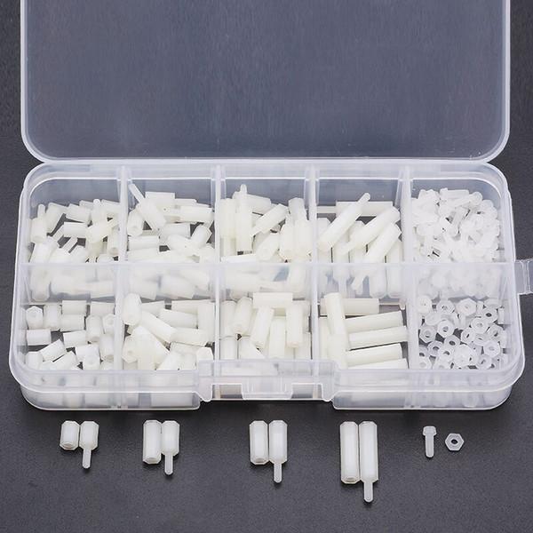M2NH3 M2 Nylon Screw White Hex Screw Nut Nylon PCB Standoff Assortment Kit 300pcs