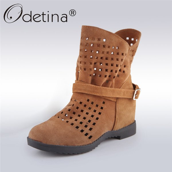 2018 Fashion Faux Suede Summer Ankle Boots for Women Hidden Heel Boots Platform Cut Out Booties Casual Shoes Big Size 48