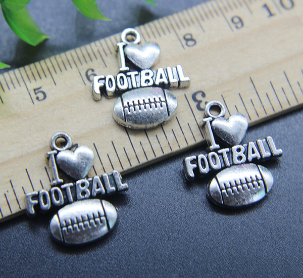 Wholesale 30pcs I LOVE Football Alloy Charms Pendant Retro Jewelry Making DIY Keychain Ancient Silver Pendant For Bracelet Earrings 20*18mm