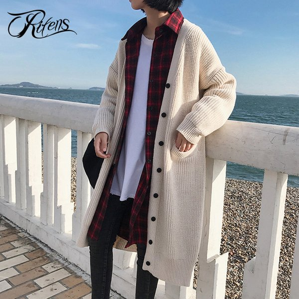 Urifens Poleras Mujer 2018 Cardigan Women Long Loose Oversized Knitting Sweater Women Button Casual Thick Overcoat BKK53