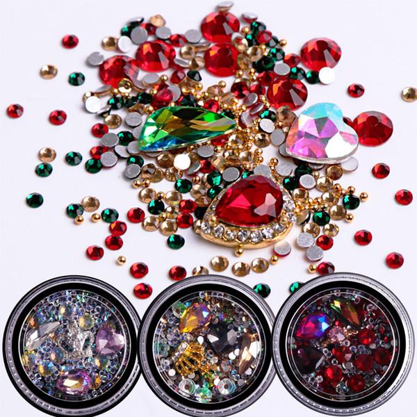 1pcs Mixed Rhinestones Glier Nail Art Crystal Caviar Beads Studs Colorful Glass 3D Design Jewelry Gem Manicure Decor JI017