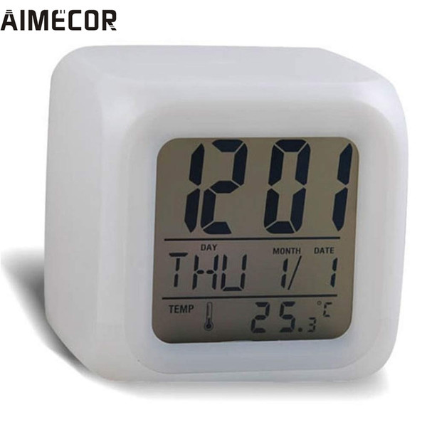 My House Digital Alarm Night Glowing Cube 7 Colors Clock LED Change Fashion 2017 New Hot Sell 17Tue22