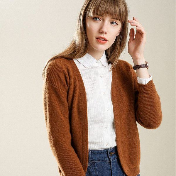 2018 Wool Short Cardigan Women Open Stitch Cardgian All Match Thick Knit V-neck Full Sleeve Cardigan Sweater Little Jacket Soft