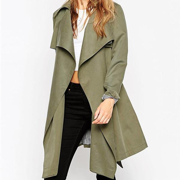 Vente chaude 2016 Nouveau Mode Printemps À Long Ouvert Point Cardigan Mince Tranchée Manteau pour Femmes Solide À Manches Longues Coupe-Vent A406