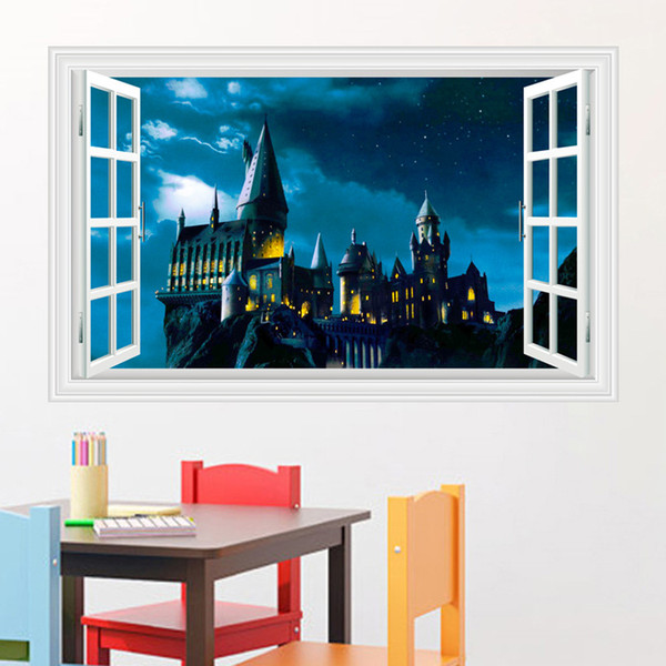 Stickers Muraux Harry Potter.3d Harry Potter Wall Stickers School Of Magic Castle Stereo Window Scenery Of The Living Room Wallpapers Mural 60 90cm 50 70cm Sticker Decor Sticker