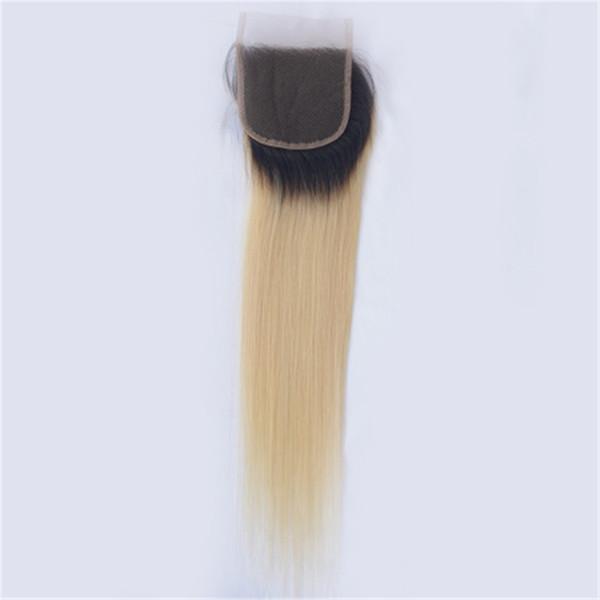 T 1B 613 Dark Root Platinum Blonde 4 * 4 Cierre de Cordón Libre Medio Tres Partes Brasileño Recto Remy Pelo Humano ping