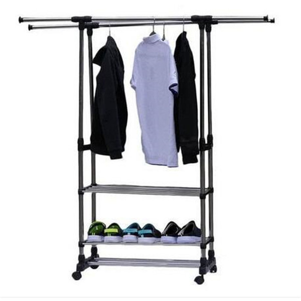 2018 Hot Dual Bars Horizontal Vertical 3 Tiers Stainless Steel Clothing Garment Shoe Rack Storage Holders & Racks