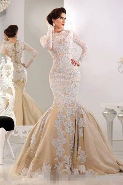 2018 Fashion Mermaid Islamic Muslim Maxi Arabic Dresses Evening Wear High Neck Long Sleeves Lace Applique Champagne Modest Formal Prom Gowns