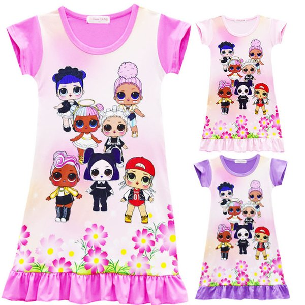 Lovely 6 Colors Girls Surprise Princess Dress New Children Cartoon Short Sleeves Pajamas Dresses Kids Clothes Summer Dress