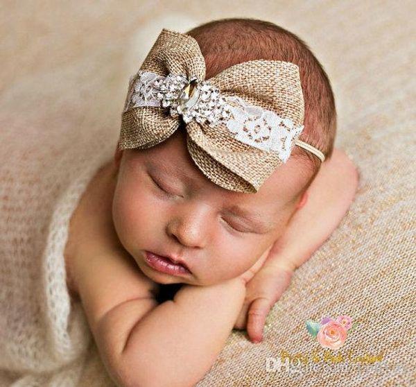 Newborn Baby Headbands Bows Kids Girls Rhinestone Pearl Hairbands Flax Fabric Vintage Bowknot Elastic Headband Children Hair Accessory KHA52