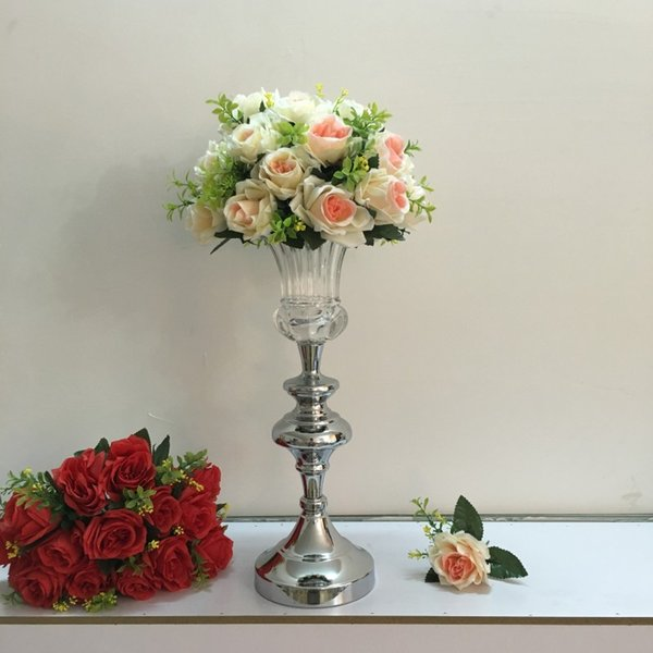 Chinese Best Price Modern Tall Clear Decoration Glass Flower Vase With Silver Bronze Metal Stand Designer LASSOCK2645