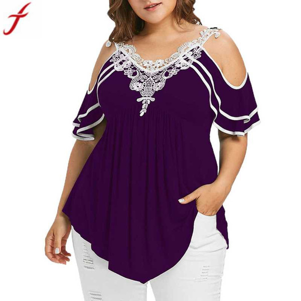 2018 плюс размер Женская одежда Женская мода кружева аппликации с коротким рукавом блузка рубашка 5XL холодное плечо V-образным вырезом туника рубашка#4