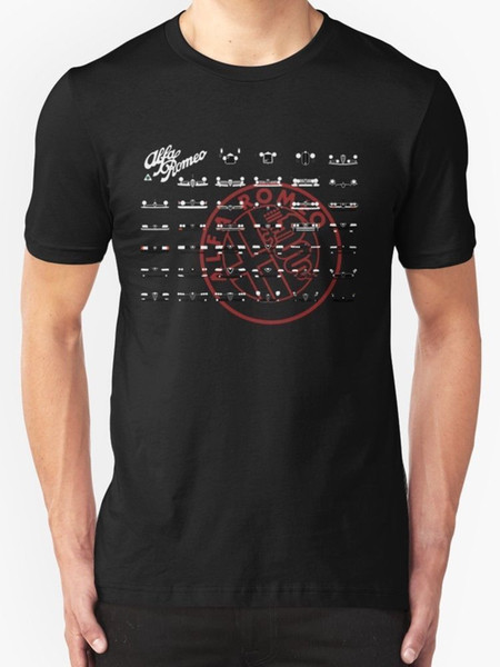 Alfa Romeo Family Hommes T-shirts Hommes Black T-shirts D'été Style de Mode de Vente en Gros Discount Hommes T Shirts Manches Courtes 100% Coton