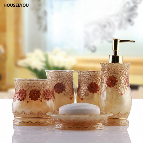 European Lace 5pcs /Set Resin Bathroom Accessories Set High Quality Soap Dish Soap Dispenser Toothbrush Holder Tumbler Gold Silve