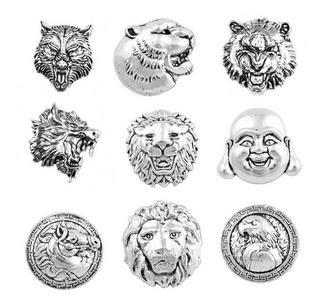 D04106 Mixed Rivca Snap Button Jewelry Newest DIY 18mm lion tiger leopard wolf Snap Button Fit Charm leather alloy fashion Bracelet jewelery