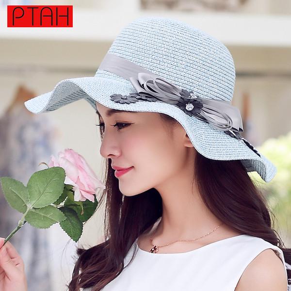 PTAH Summer Wide Large Brim Beach Straw Visors Foldable Sea Tour Sun Hats Adjustable For Women Elegant High Quality Strohhut 113