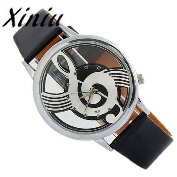 marca relogio masculino unisex Orologi Note Music Notation tipo Leather Quartz Orologio da polso top vendita horloges vrouwen #PLPY