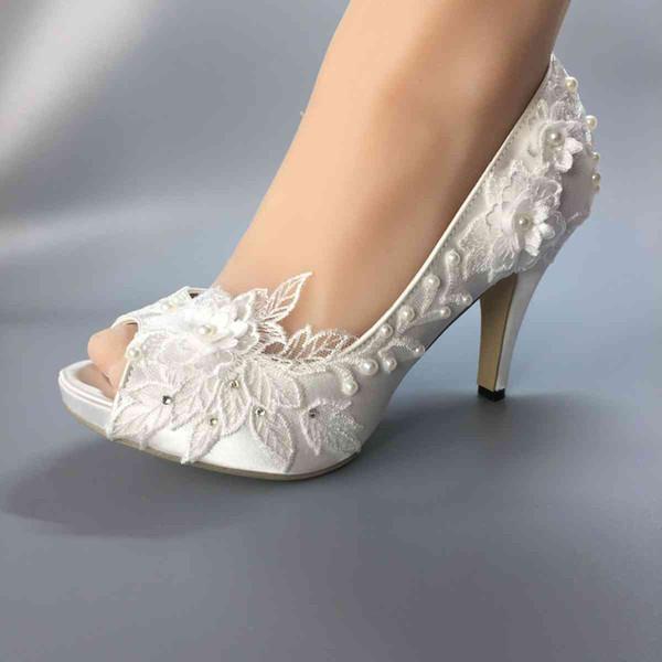 DONNA Scarpe da sposa Impermeabile bianco sposa abiti da sposa edizione dell'Han diamante pizzo manuale da sposa TACCO BRIDAL scarpe OPEN TOE SIZE EU 35-42