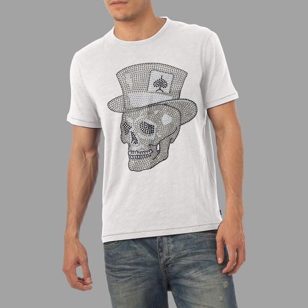 Men's Ace Hat Skull Rhinestone Diamante T-Shirt