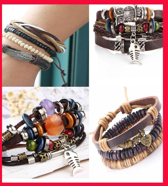2018 Fashion men and women leather rope handmade multi-layer bracelet fish bone shape Heart Alloy Owl wing Wings Ornaments Vintage bracelet