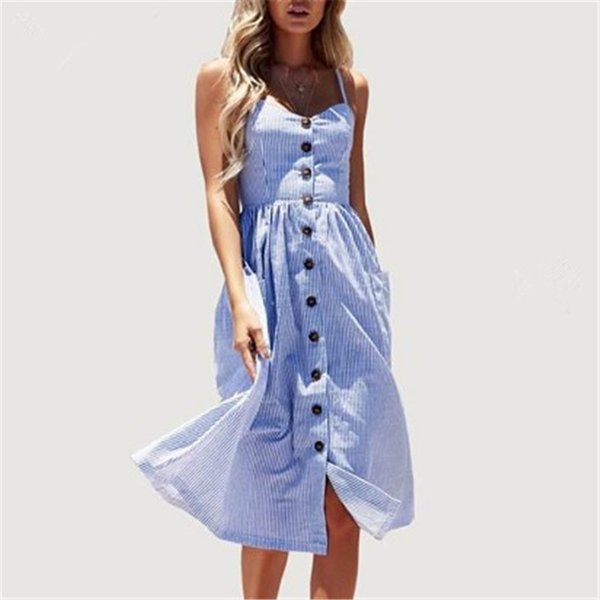 2018 popular style European and American new print sling dress