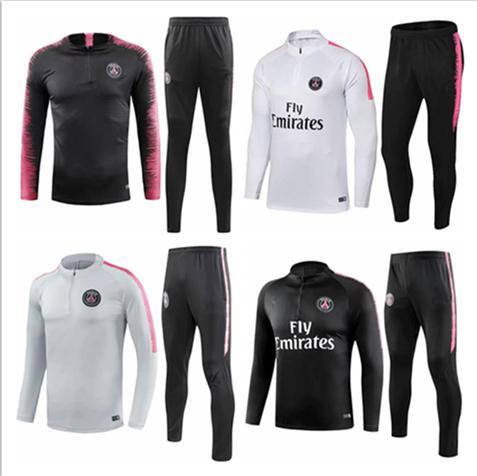 PSG adult Soccer tracksuit set 2018 2019 Paris tracksuits 18 19 MBAPPE JR LUCAS HOME Football jacket kit Training suit