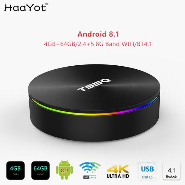 2019 Lastest T95Q 4GB 64GB Quad Core Android 8.1 TV BOX Bluetooth 4.1 4K Smart TV 2.4+5.8GHz Dual WIFI Set-top box Media Player