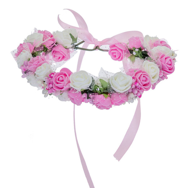 Women Bezel Flowers on Head AWAYTR Girls Flower Crown Wreath Wedding Bridal Hair Accessories Double Foam Rose Floral Headband