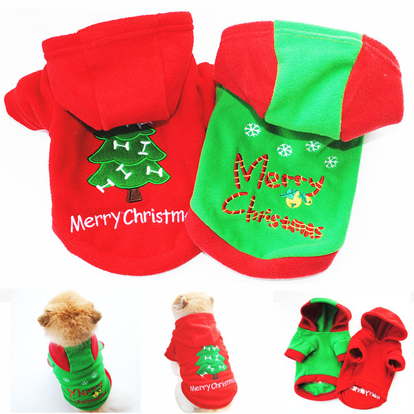 Cute Pet Dog Christmas Gifts Clothes Red & Green Dog Apparel Polar Fleece Clothing Hooded Coat Jumpsuit Puppy Outfit Pet Supplie DHL Free