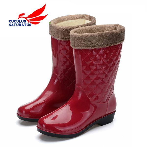 Cuculus Women Tall Rain Boots Ladies Low Hoof Heels Impermeabile Graffiti Buckle High Nubuck Round Toe Rainboots Fashion 802