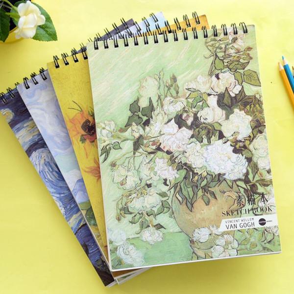 Coloffice 1 PC Peinture Série Notebook A4 Bobine Cahier De Croquis Papier Blanc Bloc-Notes Pour Étudiant Cahier Kawaii Journal Bureau