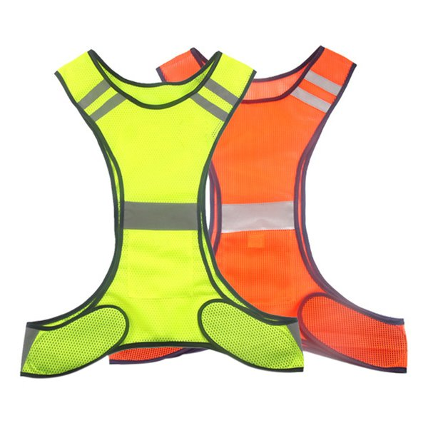 Outdoor Running Reflective Vest Lightweight Safety High Visibility Security Gear Stripes Jacket for Night Running Walking