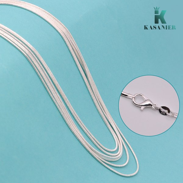 KASANIER 10 pcs Free shipping Wholesale fashion jewelry 925 silver jewelry necklace 1 mm snake chain necklace + 925 lobster clasps tag