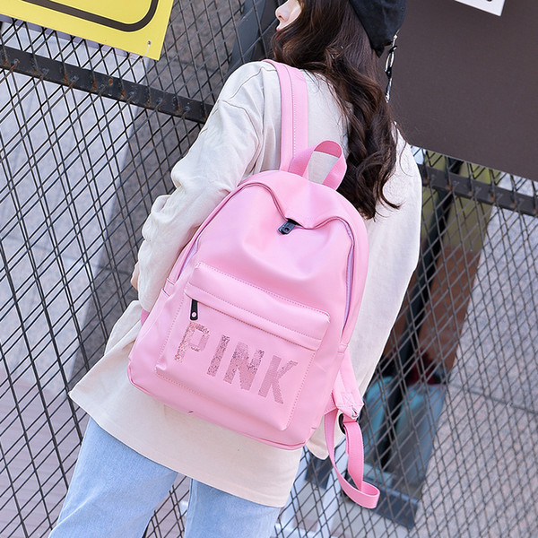 Girls Pink Letter Sequins Backpack PU Waterproof Travel Double Shoulders Backpacks Fashion Students Teenagers Girls School Bag 3 Colors